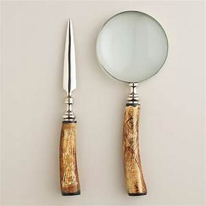 silver and bone magnifying glass and letter opener set With letter opener and magnifying glass set