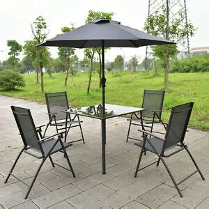 Garden Table And Chairs With Umbrella by 6pcs Patio Garden Set Furniture 4 Folding Chairs Table