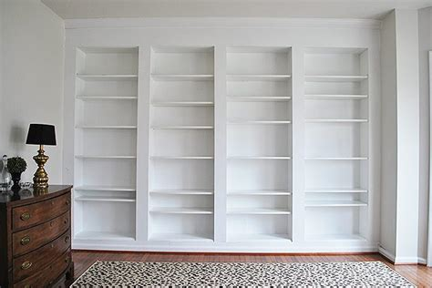 bookcase built into wall diy built in custom bookshelves using ikea billy bookcases