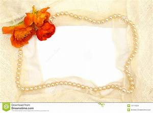 Frame From Orange Flower, Pearls And Lace Stock Photo ...