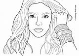 Coloring Pages Famous Shakira sketch template