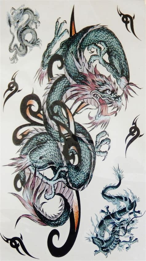 large colorful dragon arm leg  temporary tattoo