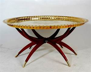 Vintage Moroccan Brass Tray Coffee Table by