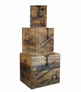 Malle De Rangement En Bois : grande malle de rangement en bois style industriel paloma ~ Teatrodelosmanantiales.com Idées de Décoration