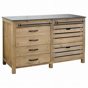 Meuble Bas Bois : meuble bas de cuisine en bois recycl l 140 cm pagnol maisons du monde ~ Teatrodelosmanantiales.com Idées de Décoration