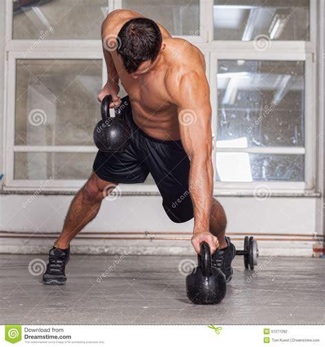 crossfit pull kettlebells training exercise