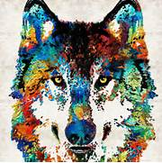 Wolf color   animaux Art PRINT de toile abstraite de peinture couleurs      Colorful Wolf Painting