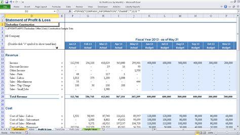 gl profit loss  month event  software