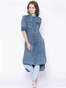 Tokyo Talkies Blue Denim Shirt Style Kurta | Womenu0026#39;s Kurti ...