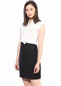 Black and white cascade dress -The Vanca