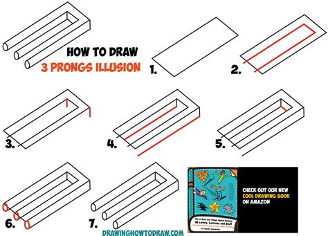 Draw Optical Illusions Templates by How To Draw 3 Prongs Optical Illusion Easy Step By Step