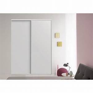 Lot de 2 portes de placard coulissante blanc l205 x h250 for Porte de garage coulissante et porte interieur blanc laqué