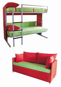 space saving living room design with transform bunk bed With sofa couch to bunk bed
