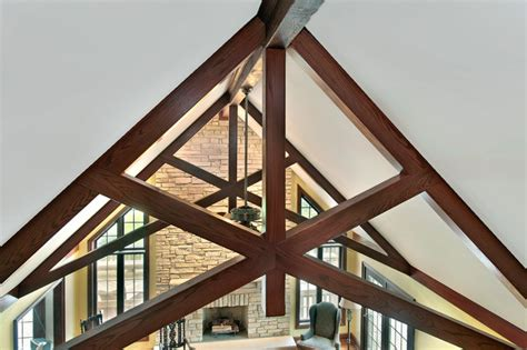 faux scissor truss traditional living room chicago