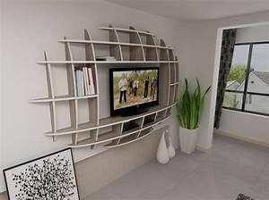 Impressive design of wall shelves tv units for living room