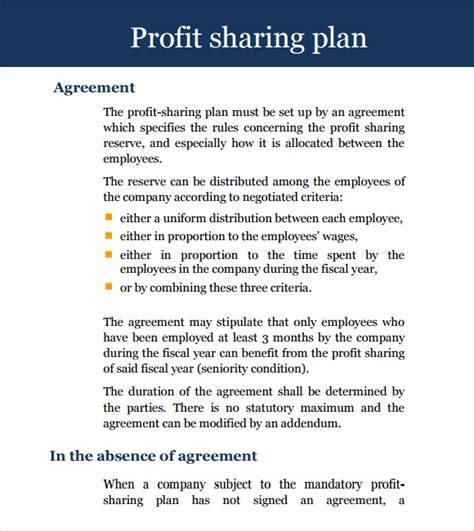 profit sharing agreement   samples examples format
