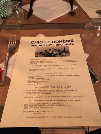 cuisine boheme chic la carte picture of chic et boheme montpellier