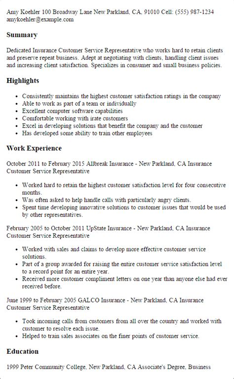 Insurance Company Experience Resume by Customer Service Representative Resume Best Resumes