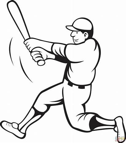 Coloring Baseball Pages Batter Swinging Drawing Printable