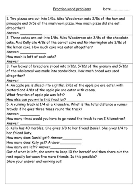 fractions word problems year 3 by hannahw2 teaching