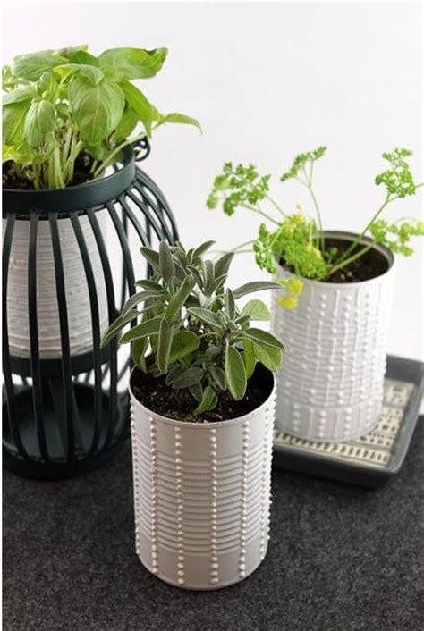 diy white pots used in indoor herb garden