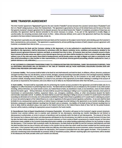 transfer agreement form samples  sample