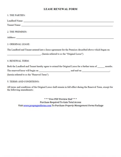 lease renewal form  property management forms