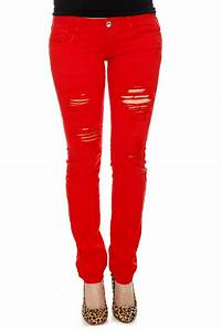 Machine Red Destroyed Skinny Jeans For Women | Aewom