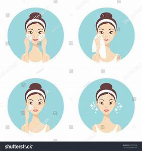Skin Care Face Cleanse Washing Beauty Stock Vector ...