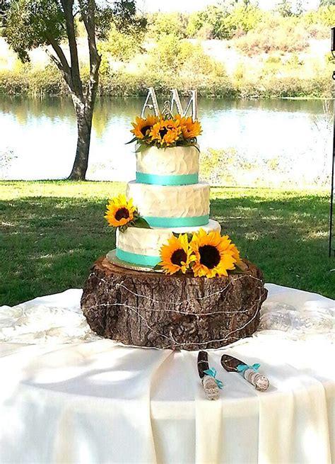 sunflower  teal wedding cake rustic sunflower wedding