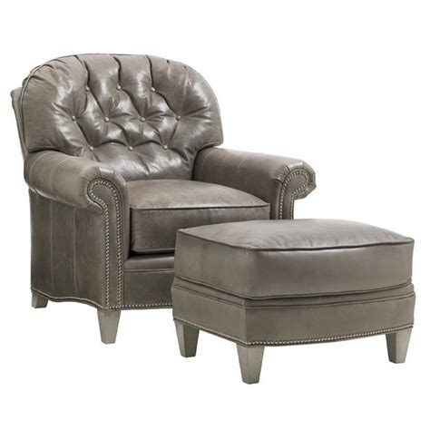 Chair With Ottoman by Oyster Bay Bayville Leather Arm Chair With