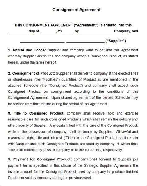 Consignment Store Contract Template by Consignment Contract Template 7 Free Word Pdf