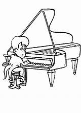 Piano Coloring Pages Player Clipart Play Sheet Cliparts Print Clip Library sketch template