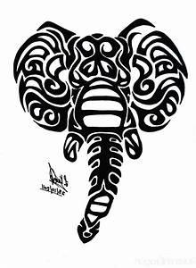 Black Tribal Elephant Head Tattoo Design
