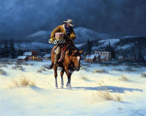 Cowboy boots with lights vickie wade western lpg greetings christmas card $2.75 new cowboy hat and boots under tree karen rae western lpg greetings christmas card Bringing Christmas Home - The Old West Art of Jack Sorenson