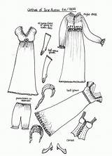Paper Coloring Pages Austen Dolls Jane 1800s Printable Dress Clothes Doll Clothing Pioneer 1800 American History Dresses Era Eras Fashions sketch template
