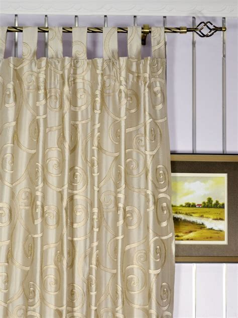 Custom Made Drapery by Rainbow Embroidered Scroll Dupioni Silk Custom Made Curtains