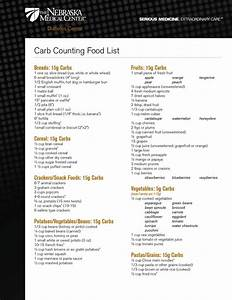 Carbohydrate Counting Chart Low Carb Foods List Printable Carb Counting Food List