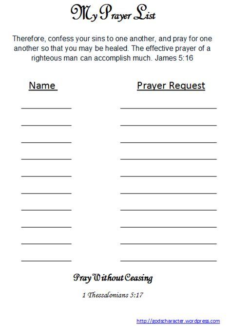 prayer list freebie godscharacter