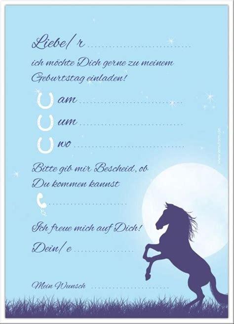 kindergeburtstag einladungen ausdrucken kostenlos pferde