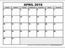 April 2018 Printable Calendar – printable weekly calendar