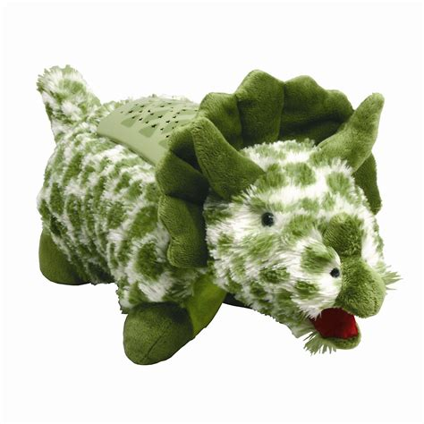 pillow pets lights as seen on tv lites green triceratops