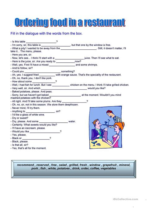 ordering food worksheet  esl printable worksheets