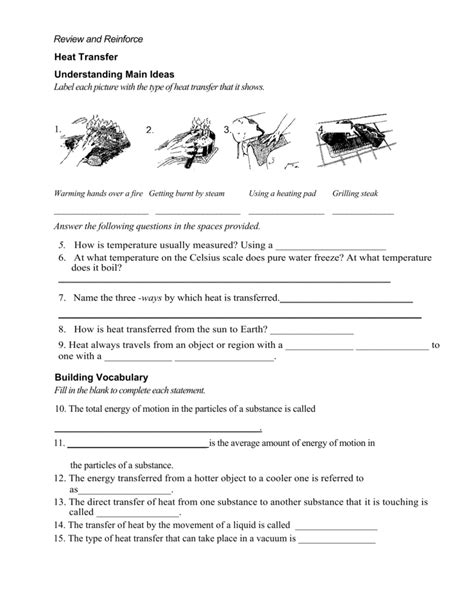 Heat Transfer Review And Reinforce Worksheet Answers  Free Printables Worksheet