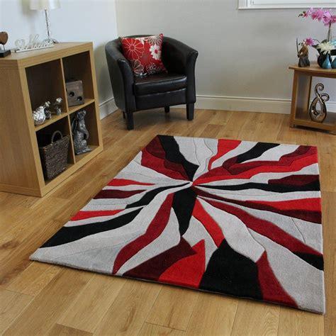 tapis moderne rouge noir  gris motif abstrait