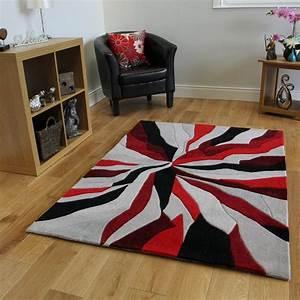 Tapis Salon Amazon : tapis moderne rouge noir et gris motif abstrait 3 tailles cuisine maison tapis ~ Melissatoandfro.com Idées de Décoration