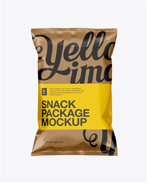 High level of detail and incredible simplicity of. Kraft Paper Snack Bag Mockup in Flow-Pack Mockups on ...