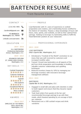 Another Name For Bartender On Resume by 80 Free Professional Resume Exles By Industry