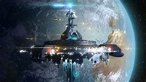 Alien UFO Near Earth, Surrounded By A Drone Like Spaceship ...