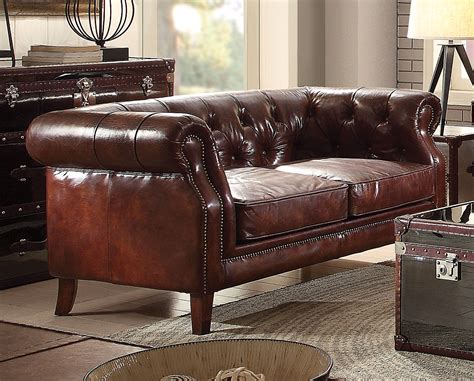 Leather Chesterfield Loveseat by Vintage Chesterfield Sofa Loveseat Brown Leather